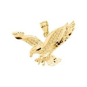 Genuine IceCarats Designer Jewelry Gift 14K Yellow Gold Eagle Pendant.