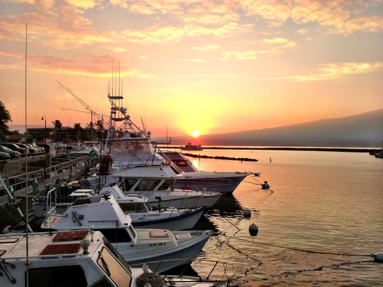 Sunrise at Maalaea Harbor Hawaii as the Fishing boats head out for the day