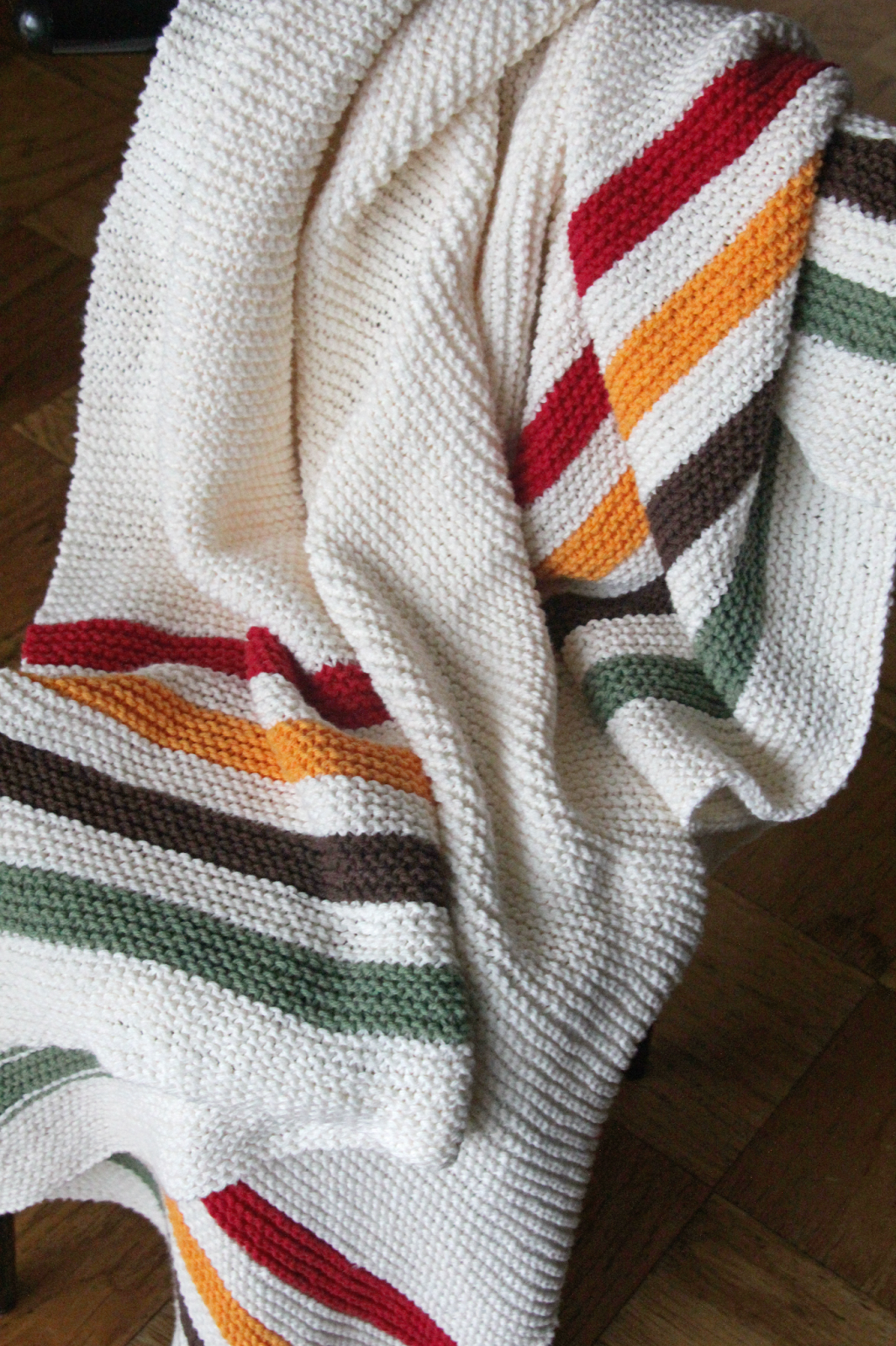 Knitting Pattern For Hudson Bay Blanket : The Fuzzy Square: Nine Months with My Simple Striped Blanket