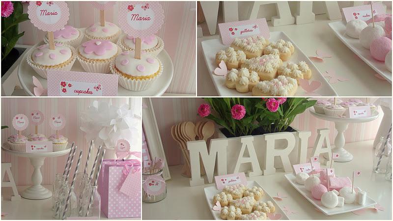 Bautizo Decoracion Elegante ~ Cupcakes y galletas decoradas, algunas nubes y unas botellitas para