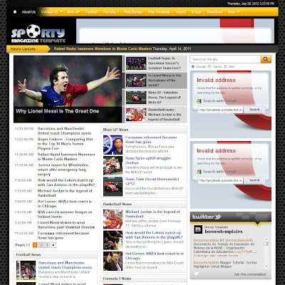 sporty magazine football blogger template