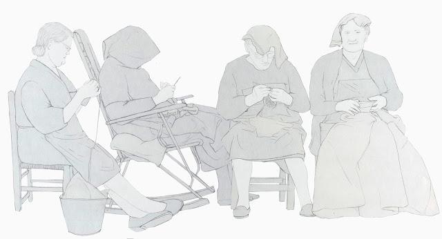 mujeres haciendo ganchillo