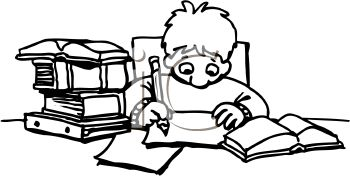 Coloring page child doing homework