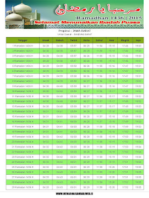 Jadwal Imsakiyah Bandung Barat Tahun 2015 (1436 H)