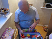 Katamino - Brian was well into the challenge of this tactile puzzel game