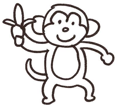 猿のイラスト(動物) 白黒線画