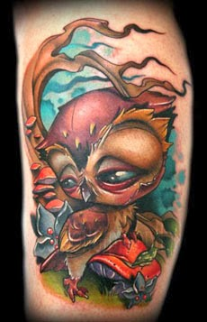 Tatuagens de corujas na panturrilha - Fotos