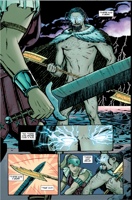 "Images from Wonder Woman #2 (2011) by Brian Azzarello and Cliff Chiang depicting Zeus and Hippolyta in combat with Hippolyta's textual dialogue: ""There was a man. No, there was more than a man. There was a God. The God. There was Zeus."""