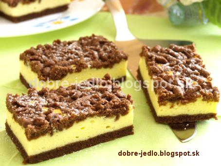 Strúhaný kakaový zákusok s tvarohom - recepty