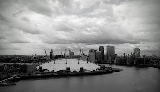 The O2 from The Emirates Air Line over the river Thames London