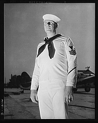 United States Radioman, first class, in summer white service dress ...