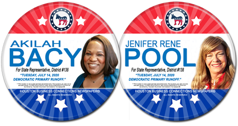 Akilah Bacy and Jenifer Rene Pool are the Dem Runoff Candidates for State Rep. District 138