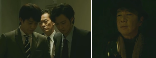 Ishikawa with Ichikura played by Kenichi Endo 遠藤憲一 (えんどう けんいち)  and Tachibana played by Aoki Munetaka 青木崇高 /  Akai played by Furuta Arata 古田新太 (ふるた あらた)  watches from the shadows