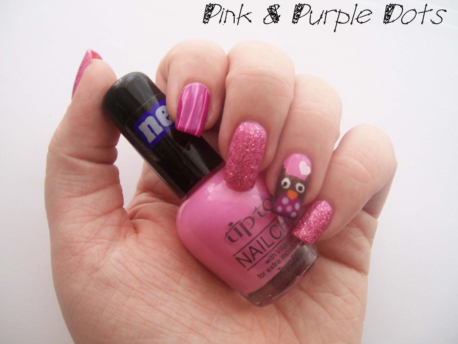 Pink & Purple Dots: Valentines Day Nail Art - Owl Love You