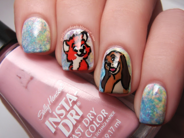 Disney nail art Challenge The Fox and The Hound Tod Copper footprints dog character nails Spellbound Nails Nail Lacquer watercolor saran wrap stickers freehand hand-painted