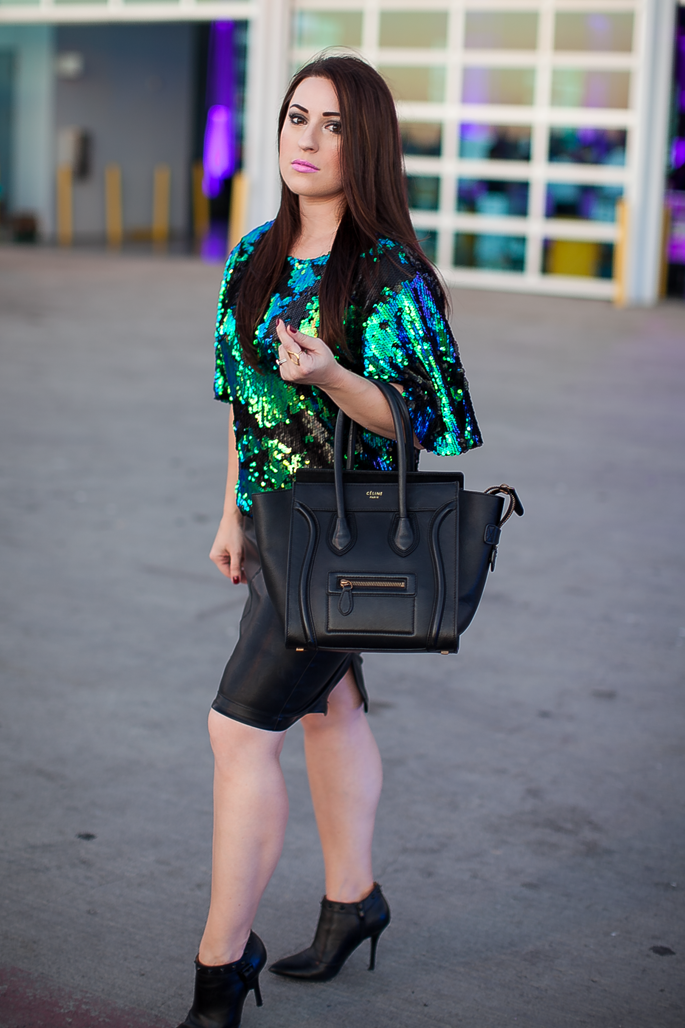 green sequin top, faux leather skirt, celine tote, enzo angiolini booties