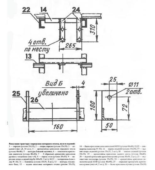 Конструкция самодельного минитрактор 164