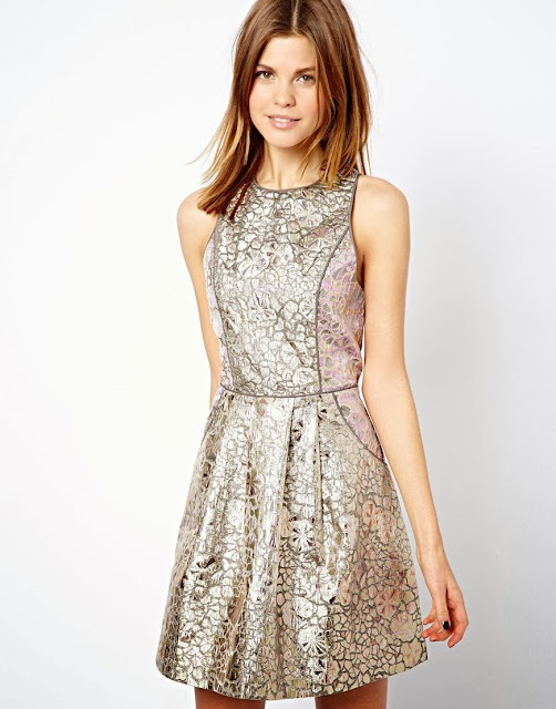 metal effect dress