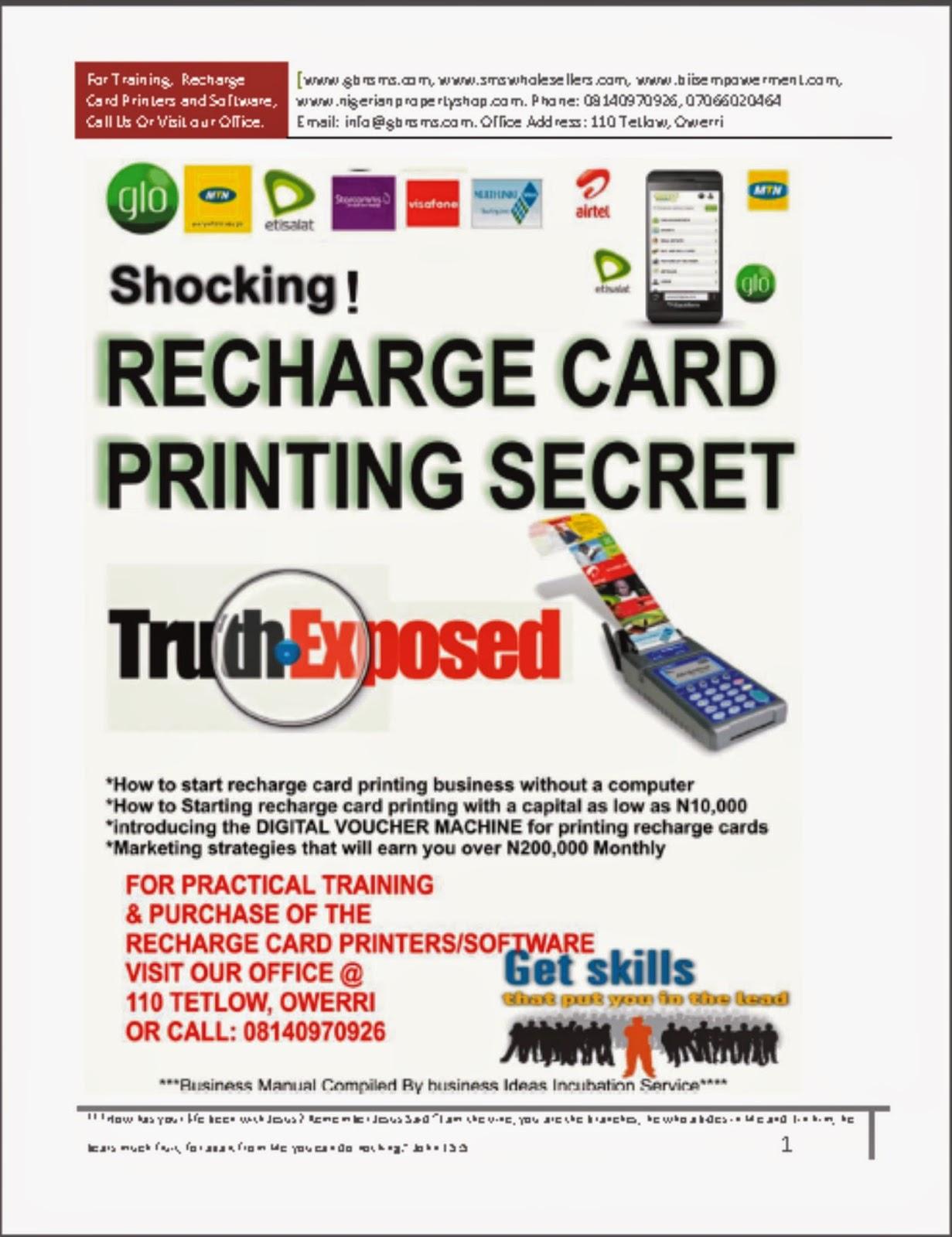 Recharge Card Business Plan In Nigeria Buying Texan