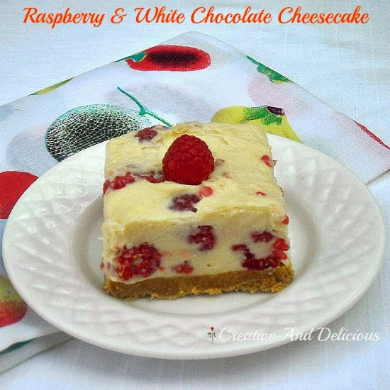 Raspberry and White Chocolate Cheesecake ~ No-Bake Cheesecake with Fresh Raspberries and White Chocolate #Cheesecake #RaspberryCheesecake #Desserts #NoBakeDessert