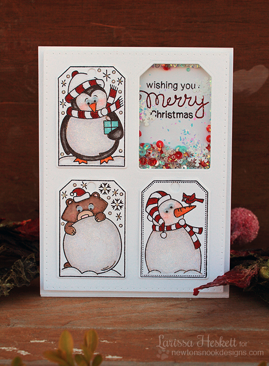 Holiday Tag shaker card by Larissa Heskett | Jolly Tags Stamp and Die Set by Newton's Nook Designs #newtonsnook