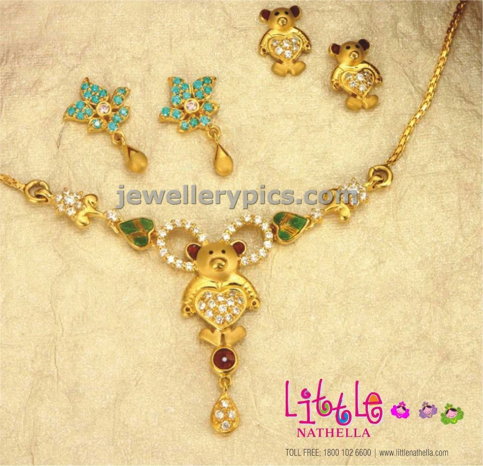 jewelry Kids gold teddy bear chain design with earrings