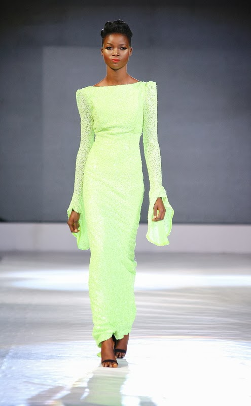 Nigerian fashion long neon dress