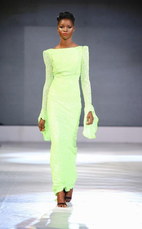 Nigerian fashion long neon dress