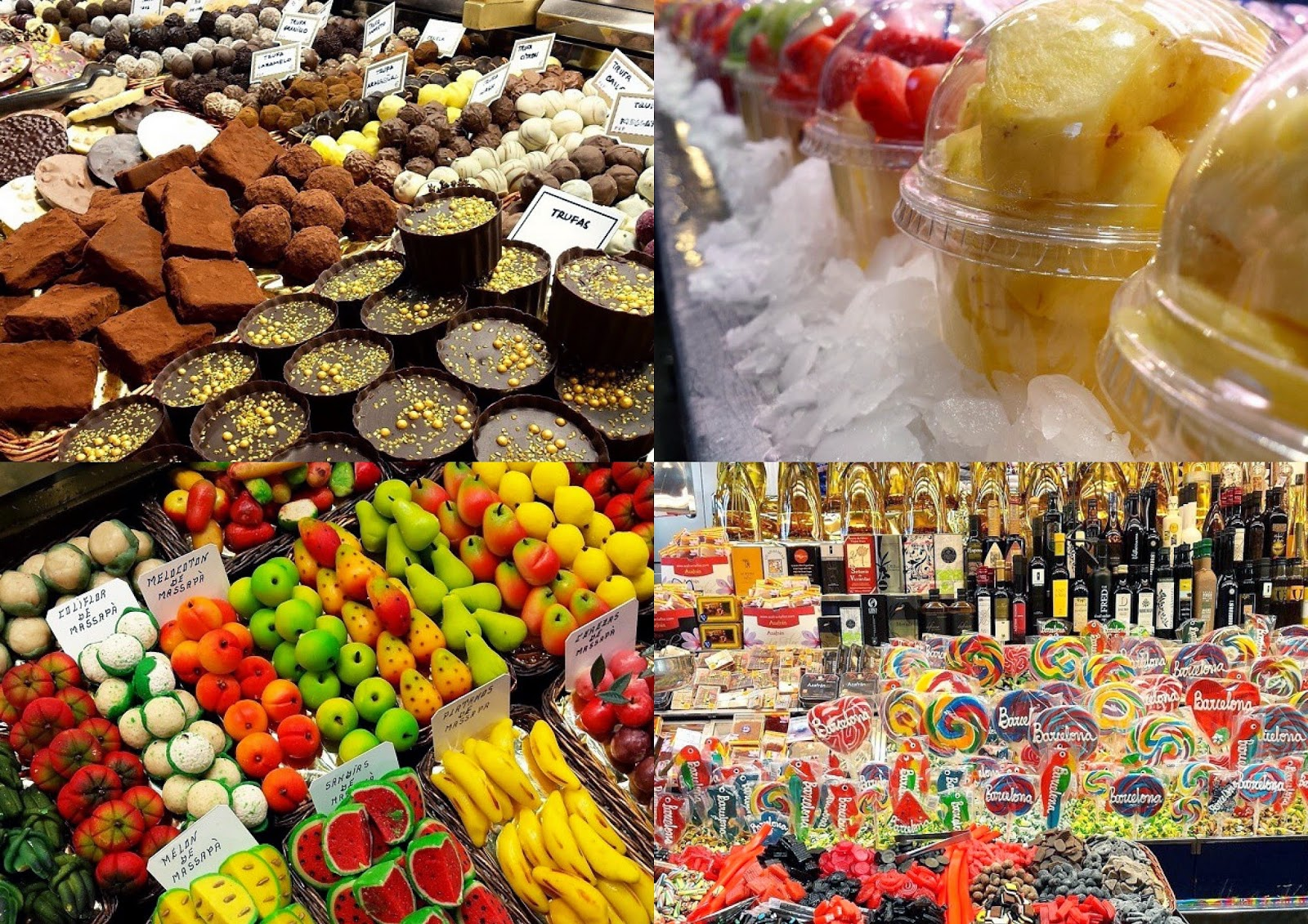mercado boqueria barcelona frutas chocolates dulces piruletas chucherias magica bcn magica barcelona dulces restaurantes merienda