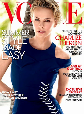 Charlize Theron sexy body in swimsuit for Vogue magazine