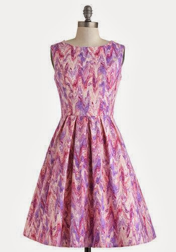 Modcloth, Modcloth.com, Chalk of the Town Dress, pink purple chevron, streaks, artsy, watercolor, a-line, high neck, Myrtlewood