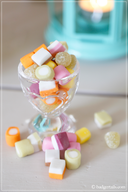 Dolly Mixtures in Glass Egg Cup