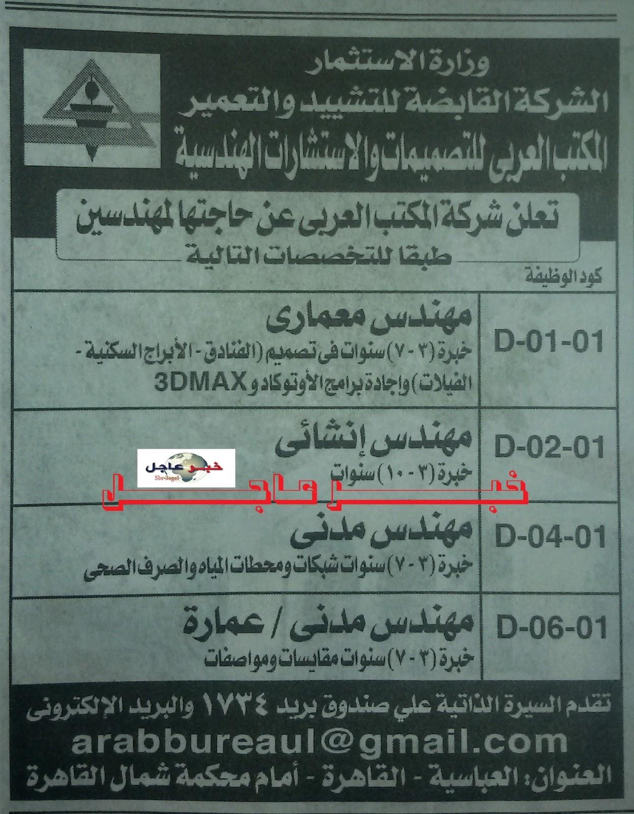 """اعلان وظائف وزارة الاستثمار المصرية """"القابضة للتشييد والتعمير""""الاهرام 10 يوليو 2015"""