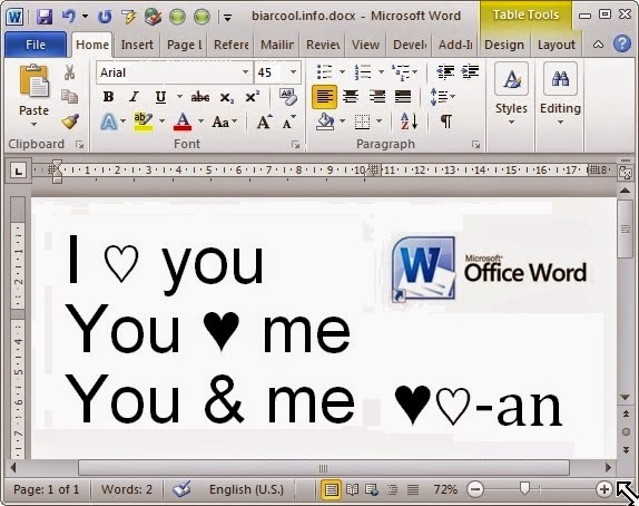 Tips Office Cara membuat simbol lambang cinta love heart hati di Microsoft Word