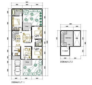 denah rumah minimalis 2 lantai type 100