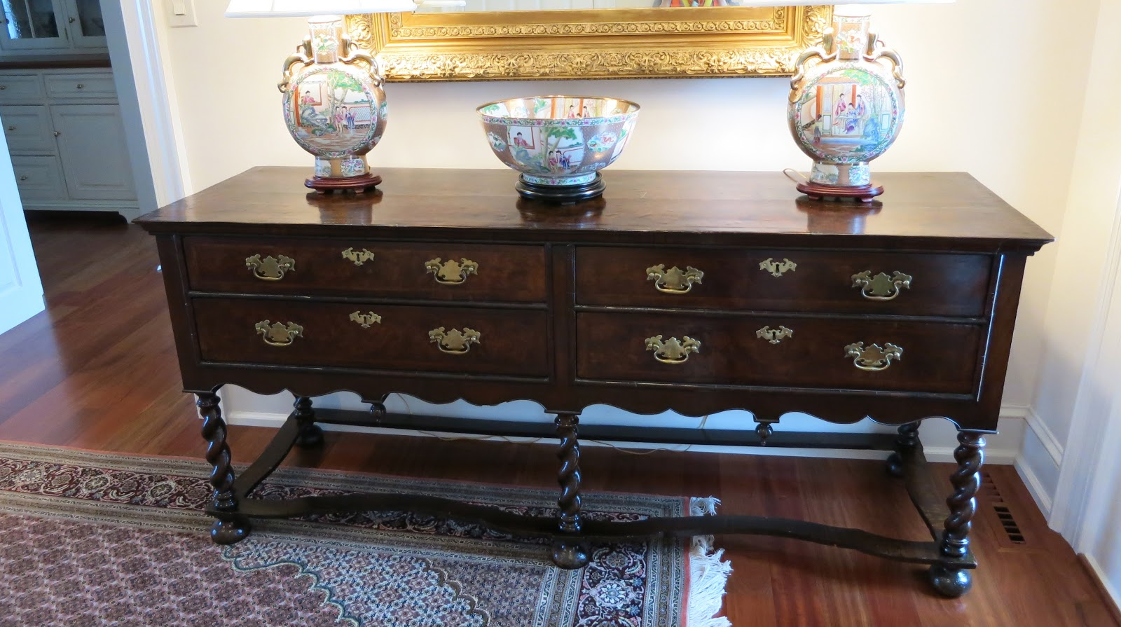 Gracious interiors everything english when you enter the first piece that greets you is an english dresser with barley twist legs stretcher base and william and mary ball feet m4hsunfo