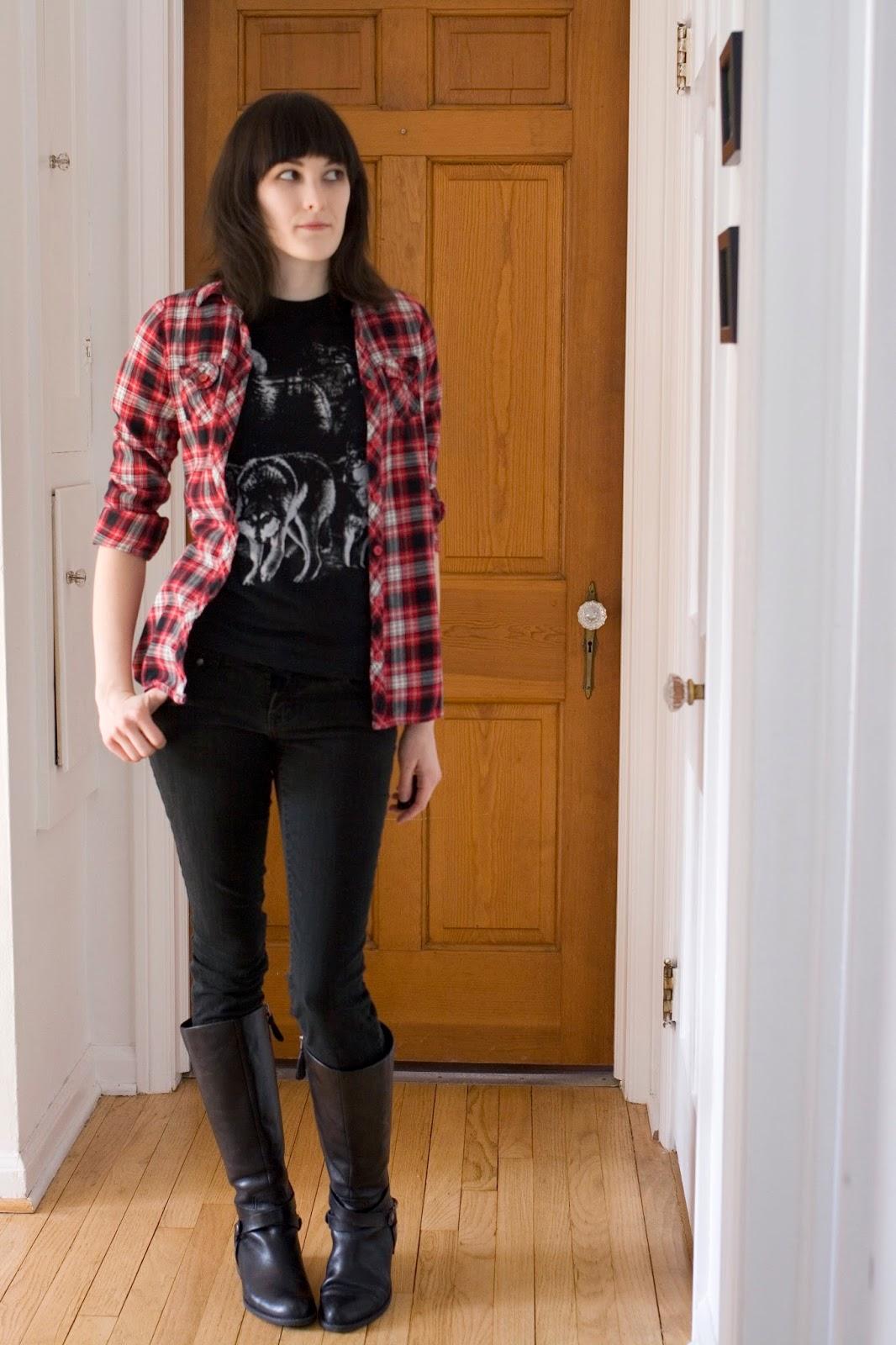 Plaid shirt: OP/Ocean Pacific - Tee: Random shady vendor - Jeans: Grane - Boots: Franco Sarto - www.bombasine.com