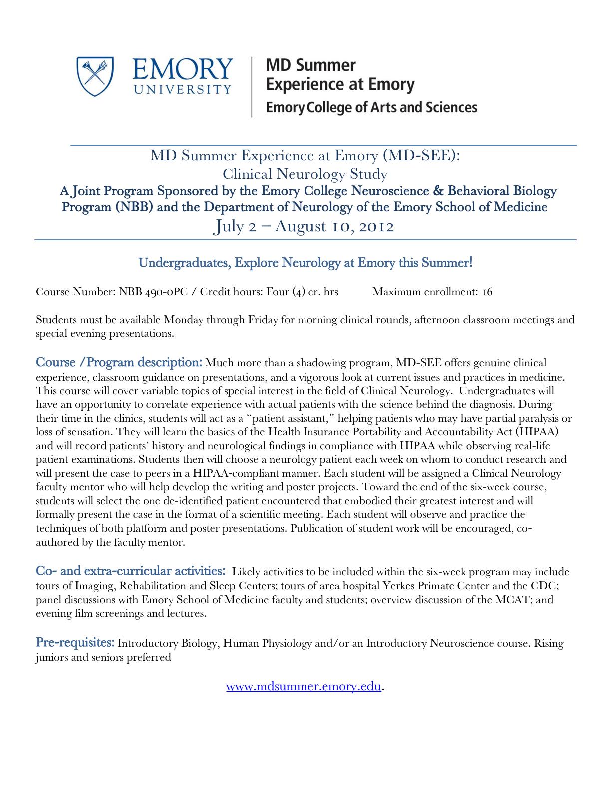 NYU OP Preprofessional Bulletin: MD Summer Experience at Emory