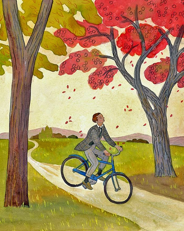 Illustration of man riding his bike in countryside.