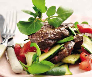 Steak With Baby Marrow and Tomato Salad