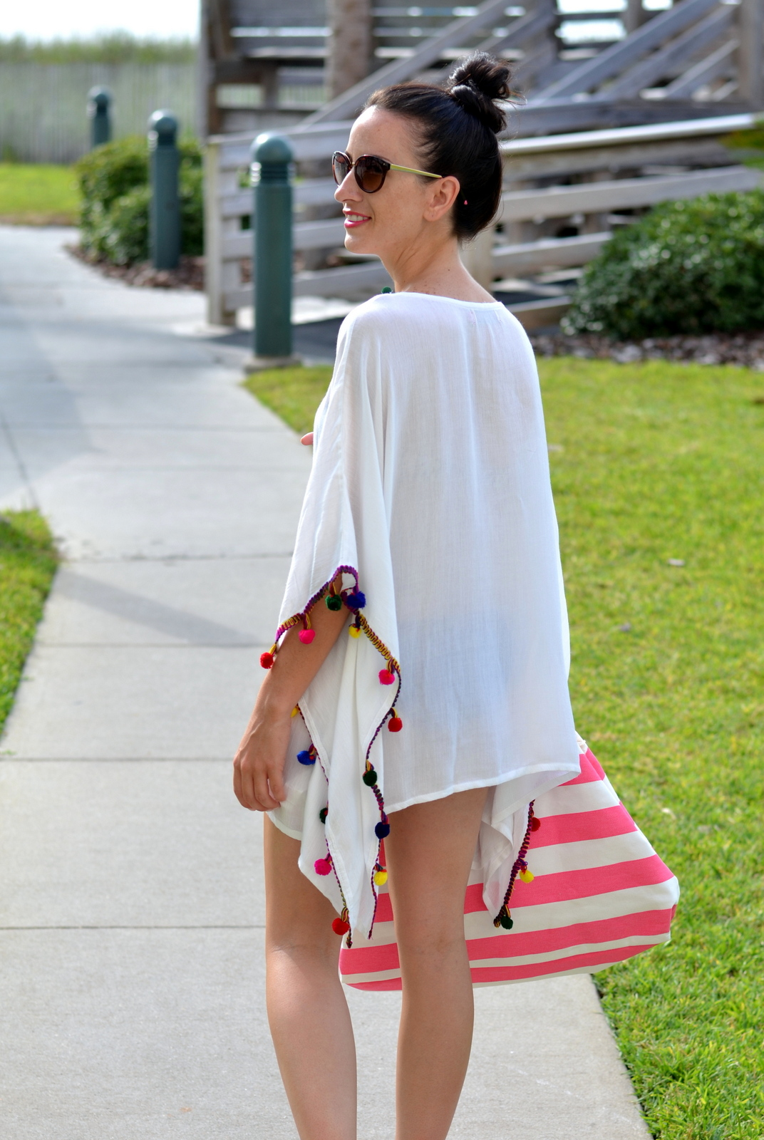 Boohoo White Beach coverup with Bright Pom Poms