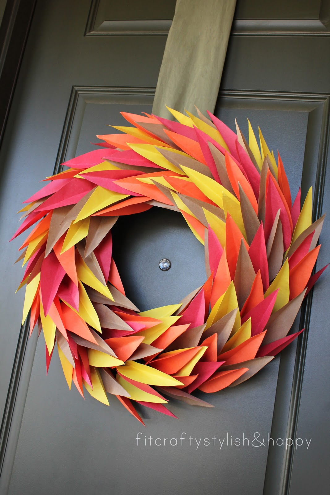 Fit crafty stylish and happy fall wreath for Diy thanksgiving door decorations