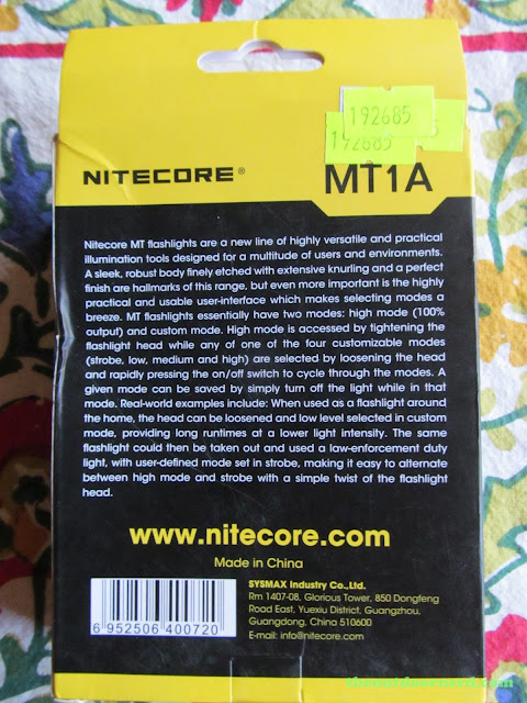 Nitecore MT1A AA Flashlight: In Box: Back
