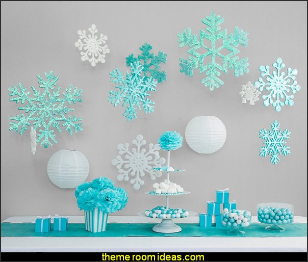 Frozen Party Decoration Set And Supplies With Hanging Snowflake Paper Lanterns