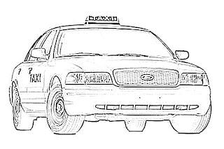 Taxi Cab Transportation Sketch