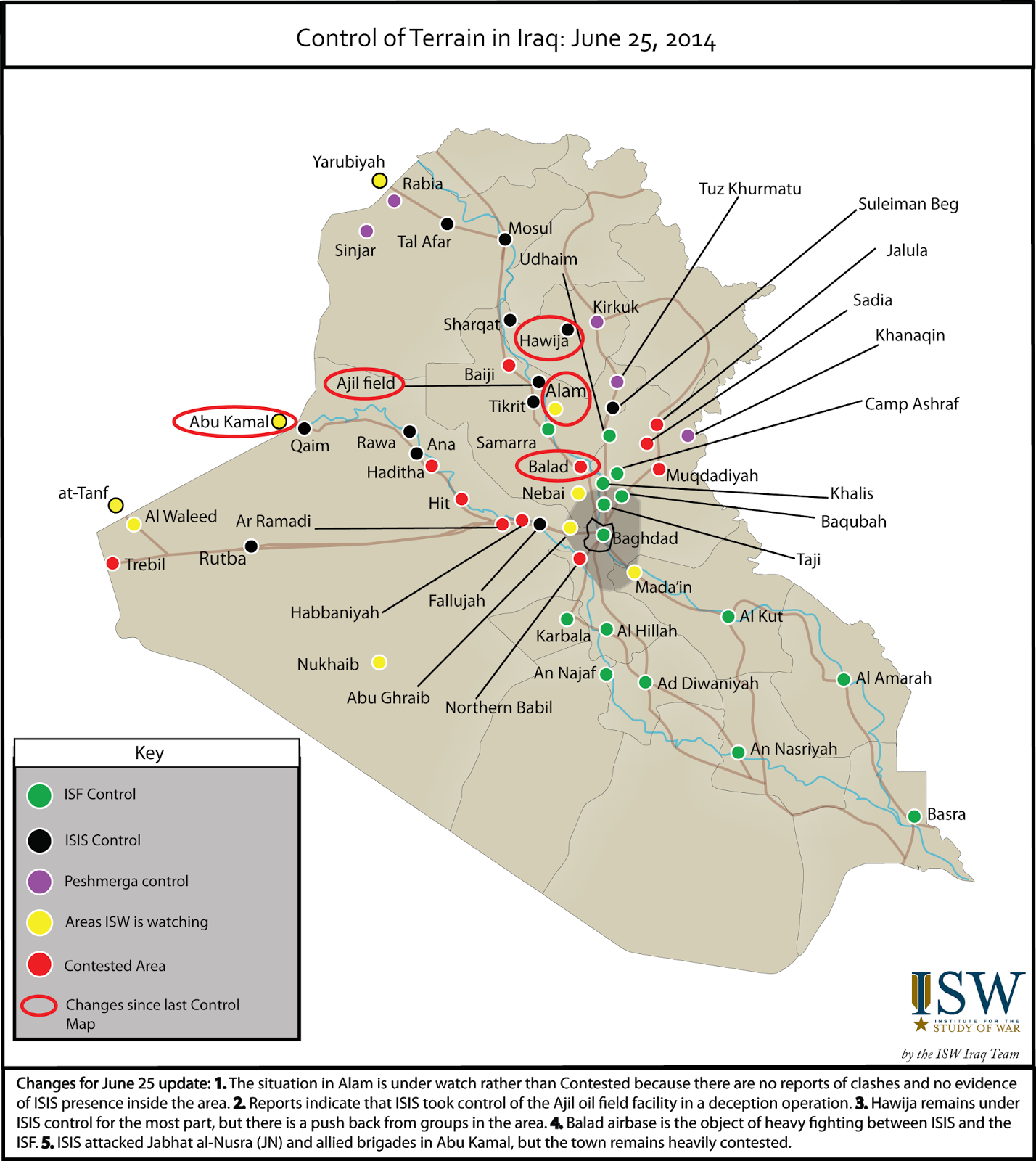 ISW Blog Control of Terrain in Iraq June 25 2014