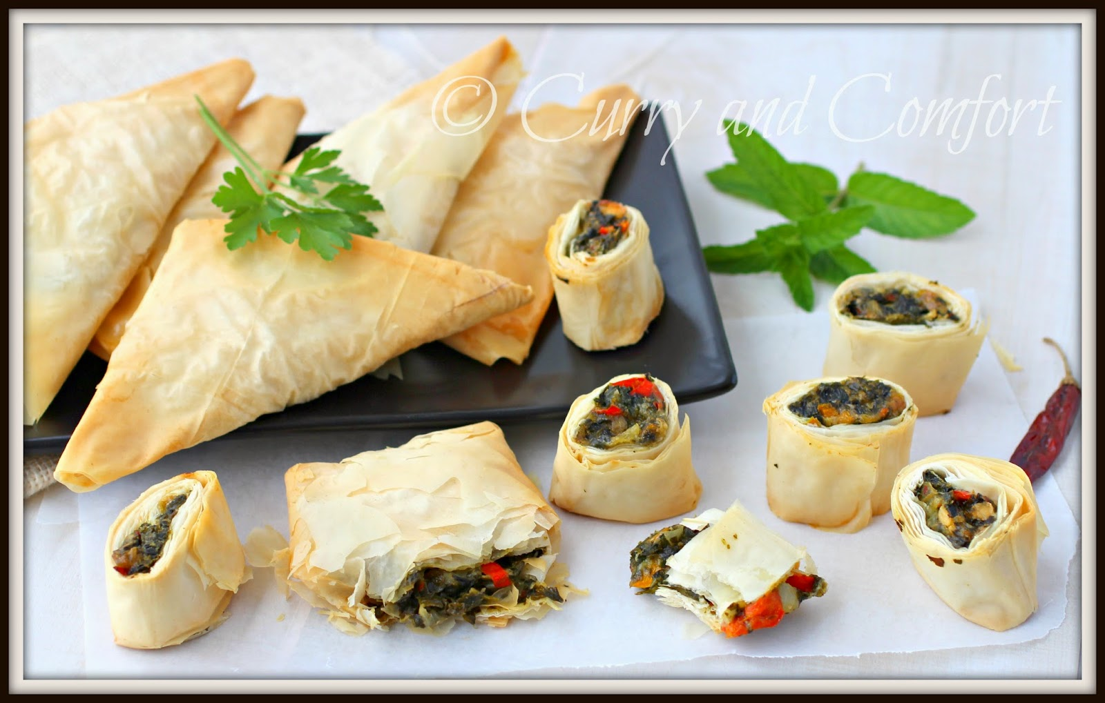 Phyllo+Dough+Triangles Spanakopita Triangles and Spirals in Phyllo ...