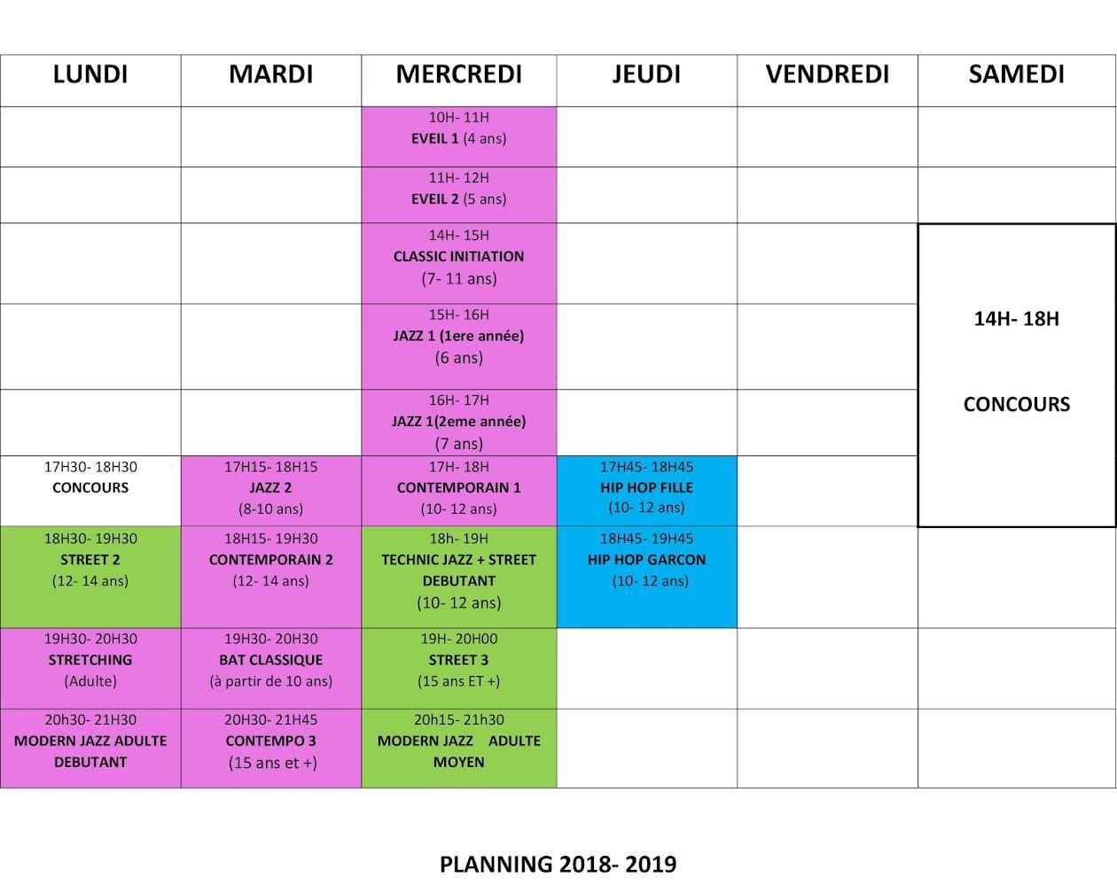 PLANNING 2018 / 2019