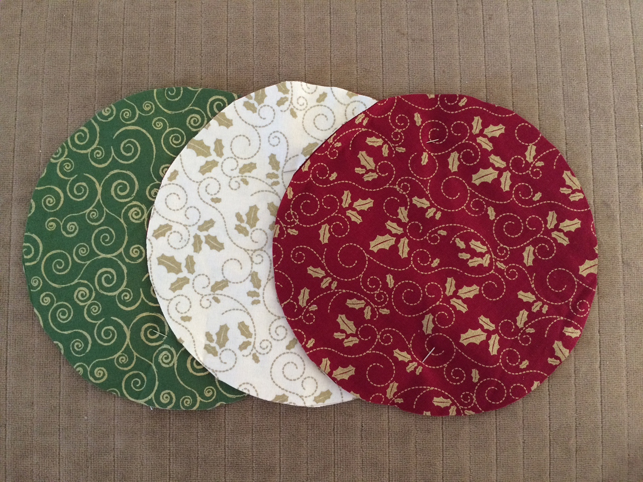 Folded fabric christmas ornaments patterns - Stitch Two Contrasting Colored Circles Together