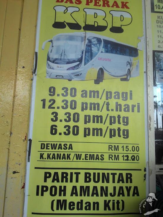 Harga tiket bas ekspress Parit Buntar ke Ipoh